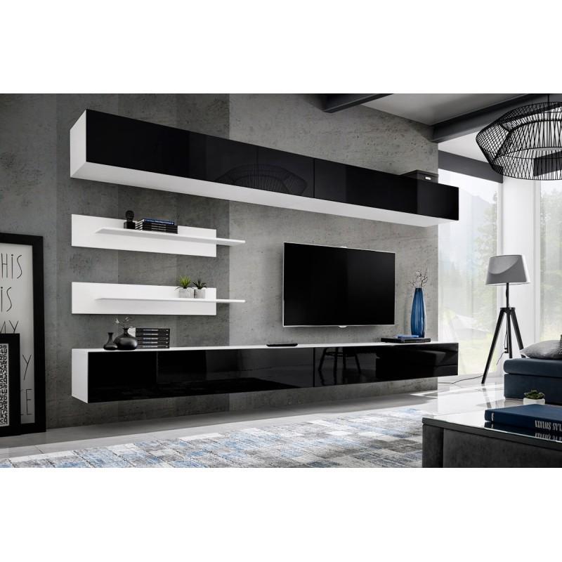 07ac28595799f Meuble tv mural design fly vi 320cm noir & blanc - paris prix
