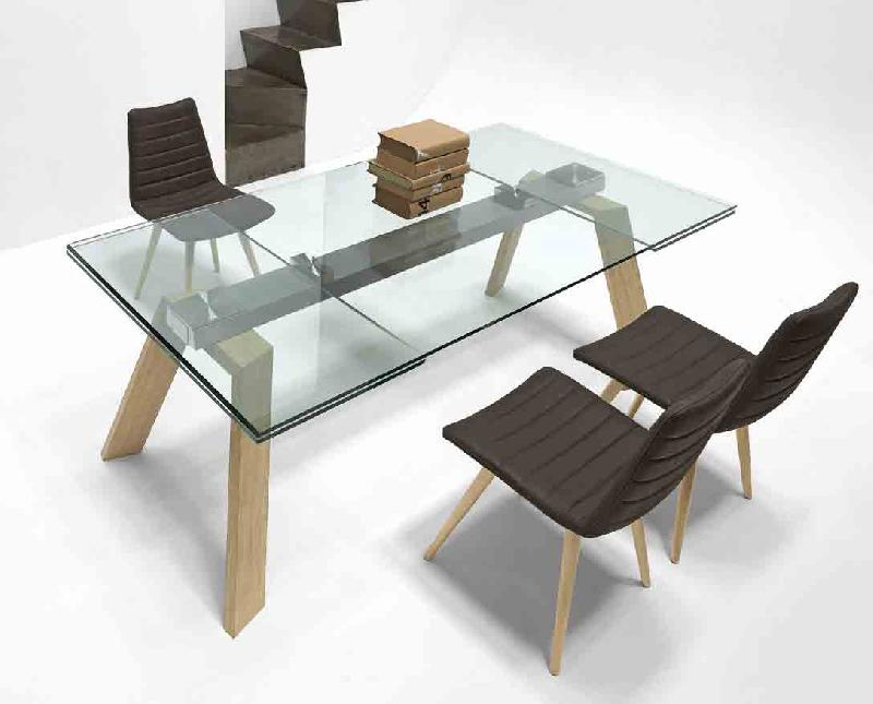 toronto table a rallonge en verre 160 210 260 x 100 cm pieds bois. Black Bedroom Furniture Sets. Home Design Ideas