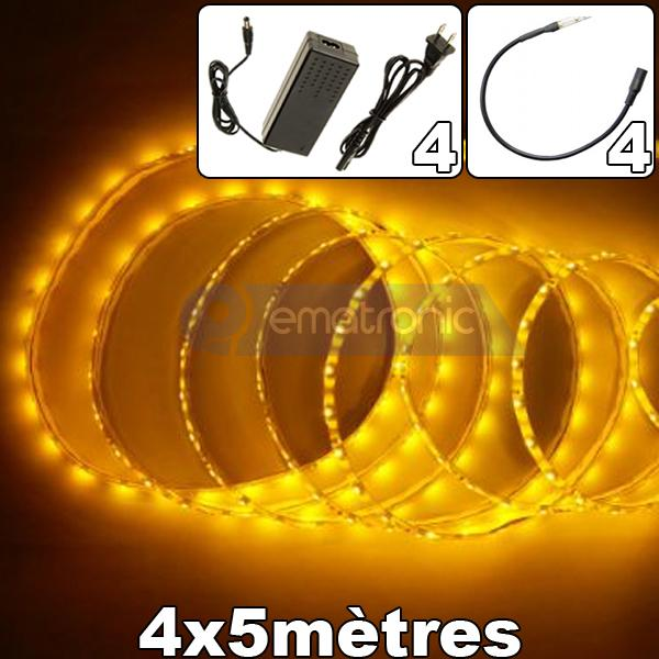 Ruban led lot 4rouleaux de 5m 60leds m 3528 ematronic for Carrelage adhesif salle de bain avec ruban led 6 metres