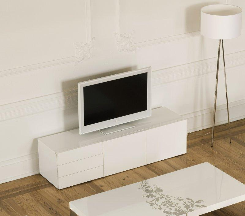 temahome glare meuble tv avec tiroirs et portes laque blanc brillant. Black Bedroom Furniture Sets. Home Design Ideas
