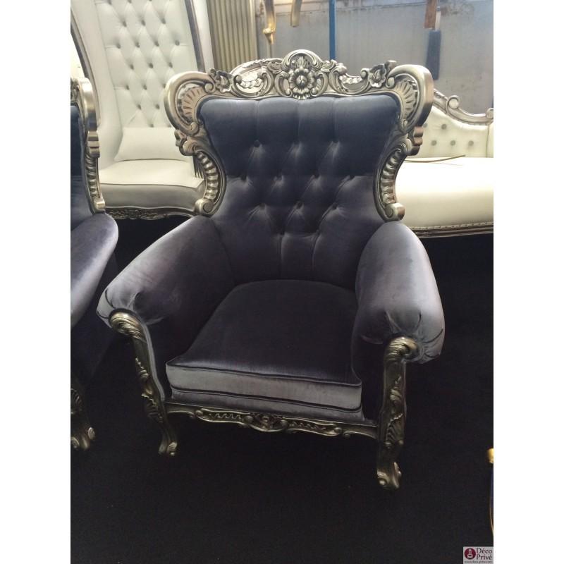 fauteuil velours gris. Black Bedroom Furniture Sets. Home Design Ideas