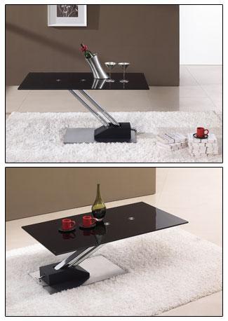 Table relevable step verre noir - Systeme table relevable ...