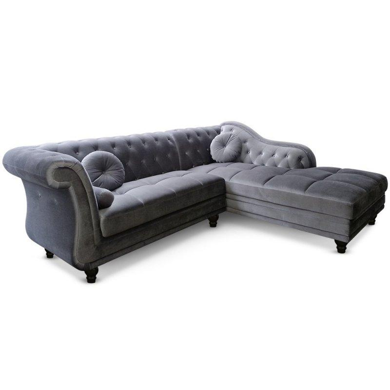 canape d 39 angle droite kingdom chesterfield velours gris. Black Bedroom Furniture Sets. Home Design Ideas