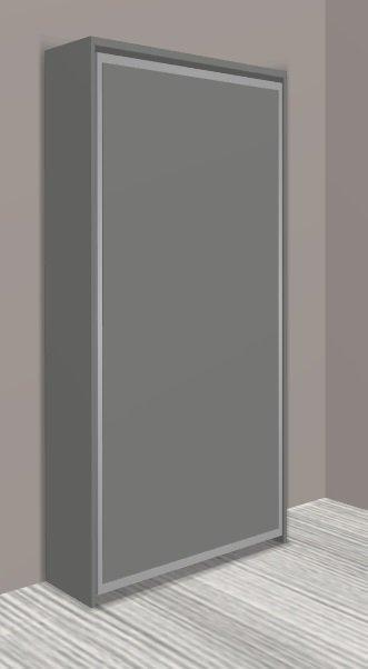 armoire lit escamotable cronos gris fonce mat couchage 90 22 200 cm. Black Bedroom Furniture Sets. Home Design Ideas
