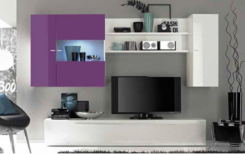 composition murale tv design primera blanc et lilas. Black Bedroom Furniture Sets. Home Design Ideas