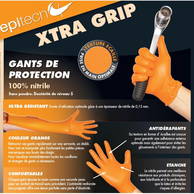 GANT JETABLE NITRILE ORANGE XTRAGRIP