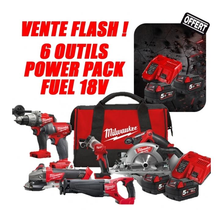 M18 POWER PACK FUEL FPP6A-502B - 6 OUTILS MILWAUKEE PERCEUSE A PERCUSSION + VISSEUSE A CHOC + SCIE CIRCULAIRE + SCIE SABRE + MEULEUSE + LAMPE TORCHE 18V