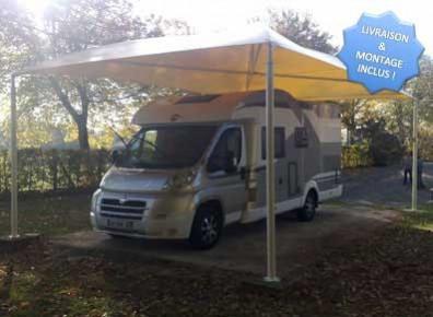 Abri camping-car ouvert métal toile / structure en acier / toiture arrondie en toile