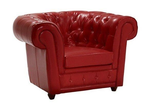 fauteuil chesterfield deluxe en cuir rouge capitonne. Black Bedroom Furniture Sets. Home Design Ideas