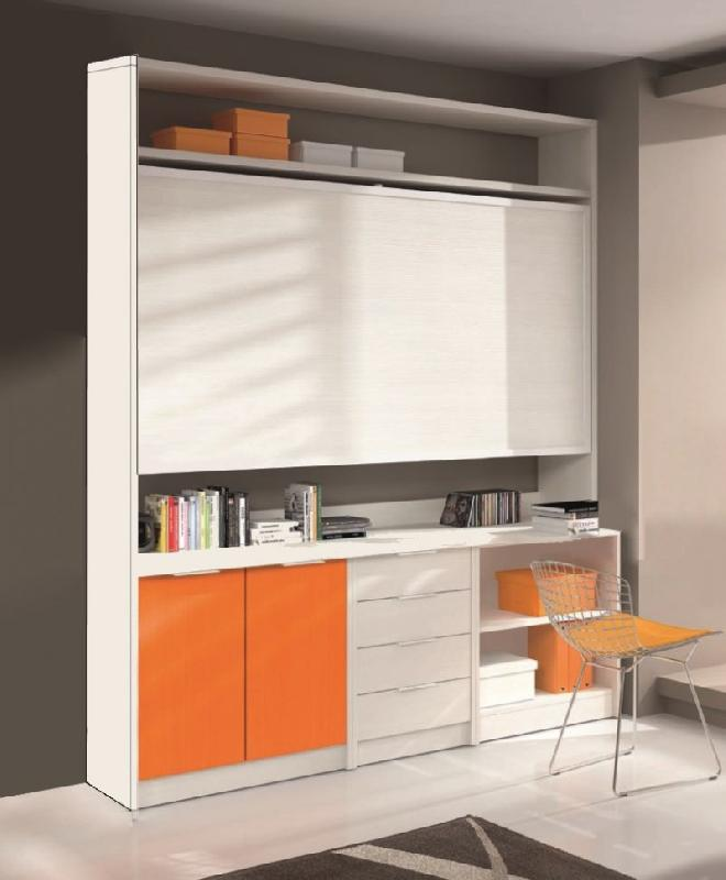 armoire lit transversale artemis avec bureau et rangements couchage 90 190cm. Black Bedroom Furniture Sets. Home Design Ideas