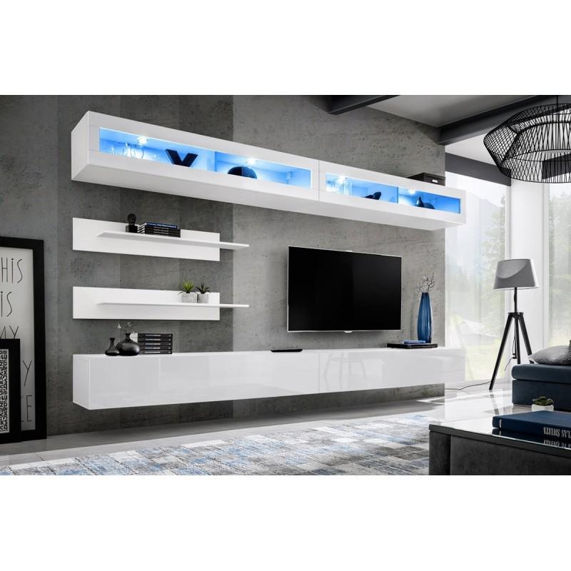 MEUBLE TV MURAL DESIGN FLY VII 320CM BLANC - PARIS PRIX