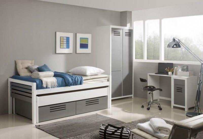 marlone ensemble chambre d 39 enfant blanc et argente couchage 90 x 190. Black Bedroom Furniture Sets. Home Design Ideas