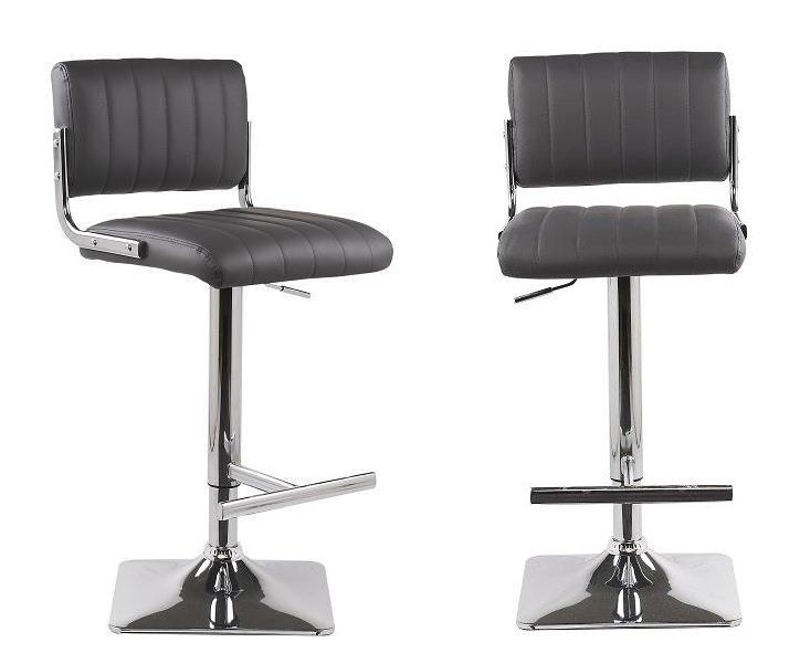 Lot de 2 tabourets chaises de bar reglables vegas gris for Lot de 6 chaises grises