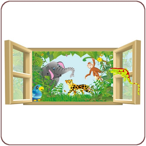 sticker enfant l unique animaux de la jungle car interior design. Black Bedroom Furniture Sets. Home Design Ideas