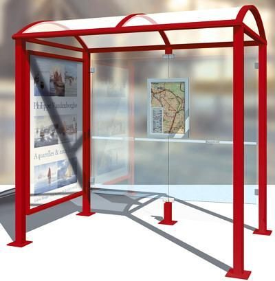 Abri bus avec vitrine latérale - lg. 2500 mm