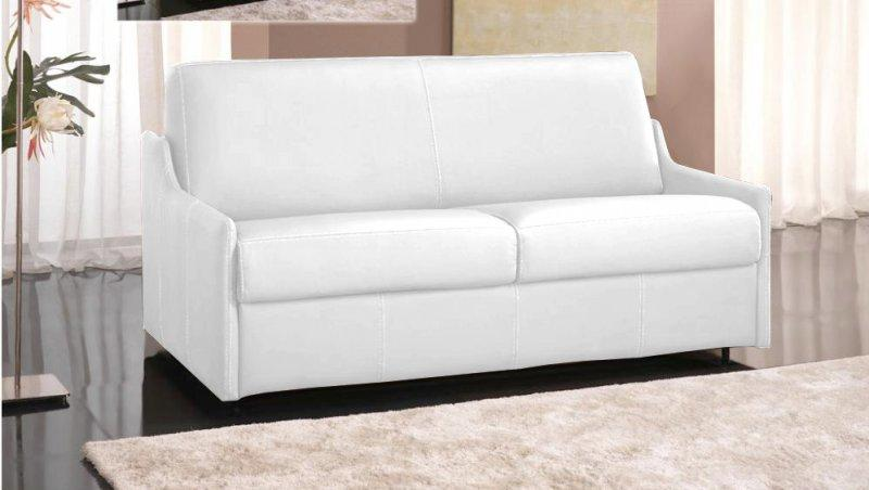 Canape convertible rapido luna cuir recycle blanc couchage for Canape convertible 140 cm