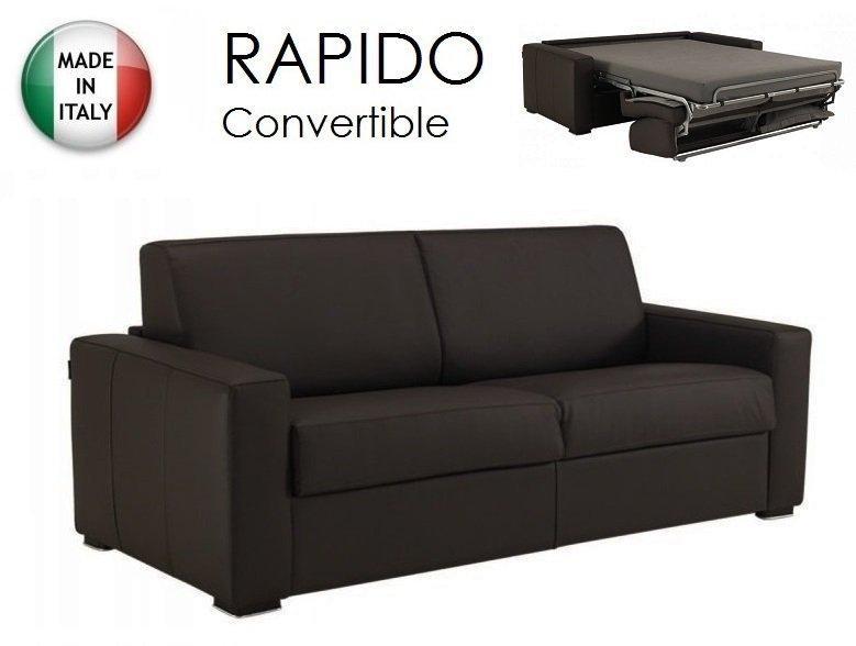 canape dreamer convertible ouverture rapido couchage quotidien 140cm cuir vachette marron. Black Bedroom Furniture Sets. Home Design Ideas