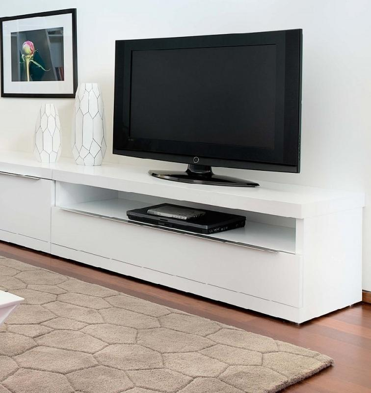 temahome valley meuble tv design blanc avec niche de rangements tiroir. Black Bedroom Furniture Sets. Home Design Ideas