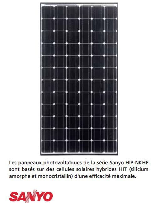 panneau solaire photovoltaiques sanyo technologie hybride sanyo hit 245 250wc. Black Bedroom Furniture Sets. Home Design Ideas
