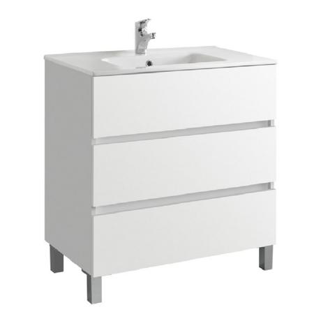 meuble de salle de bain 80cm 3 tiroirs blanc jade comparer les prix de meuble de salle de. Black Bedroom Furniture Sets. Home Design Ideas