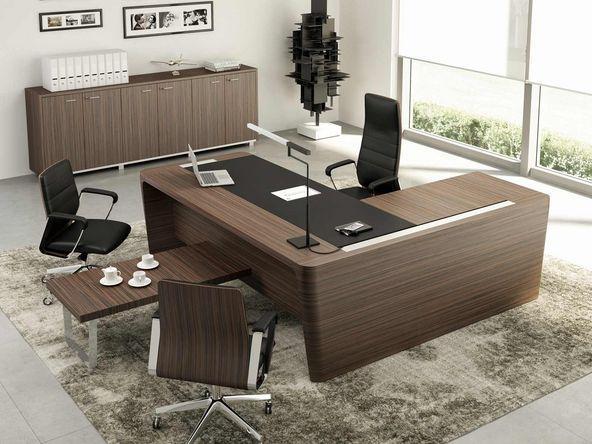 bureau de direction avec inserts cuir retour et caisson comparer les prix de bureau de. Black Bedroom Furniture Sets. Home Design Ideas