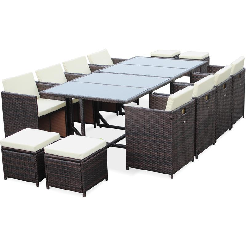 salon de jardin cubo chocolat table en r sine tress e 8 12 places fauteuils encastrables. Black Bedroom Furniture Sets. Home Design Ideas