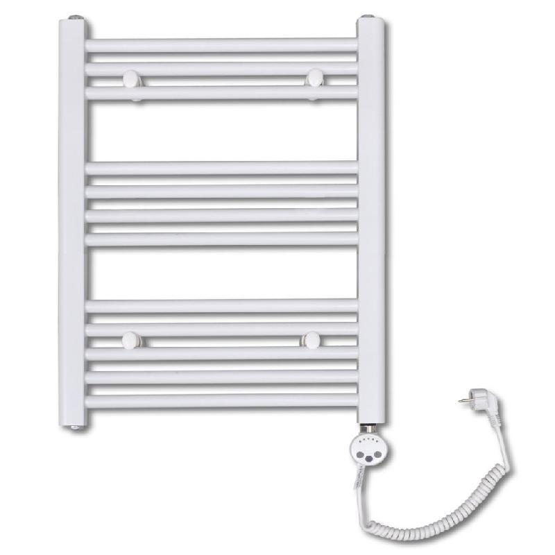 Radiateur sèche-serviettes électrique avec thermostat hauteur 76 cm salle de bain blanc 3202045