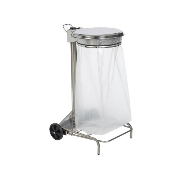Support mobile à sac poubelle 110 litres - collecroule inox