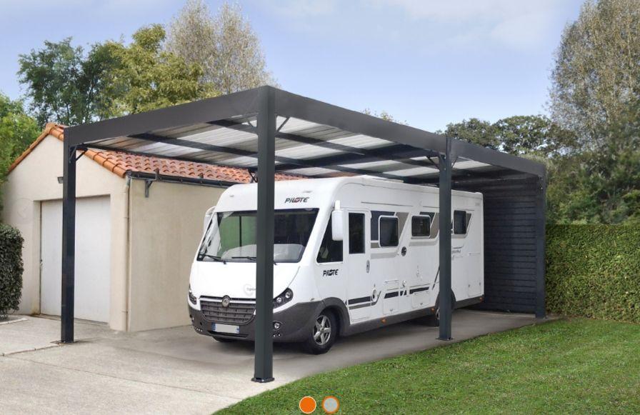 Abri camping car ouvert / structure en acier / toiture monopente