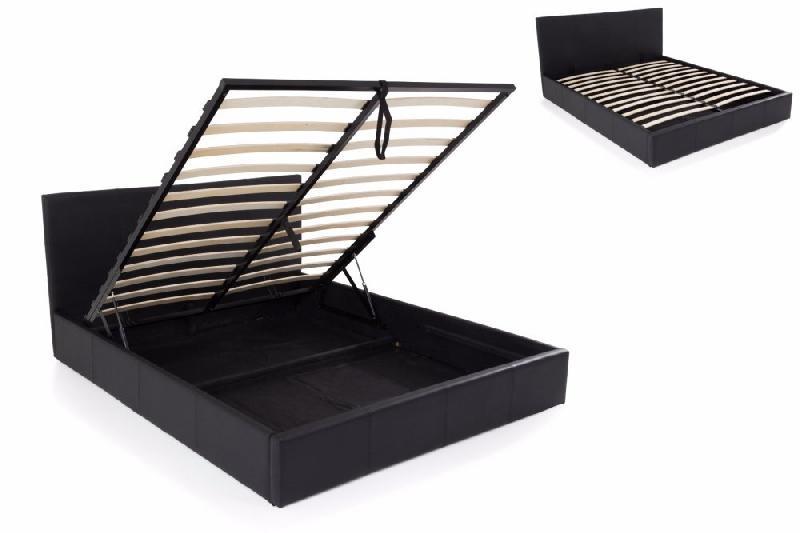 lit coffre haut de gamme stona couchage 180 200 cm similicuir noir comparer les prix de lit. Black Bedroom Furniture Sets. Home Design Ideas