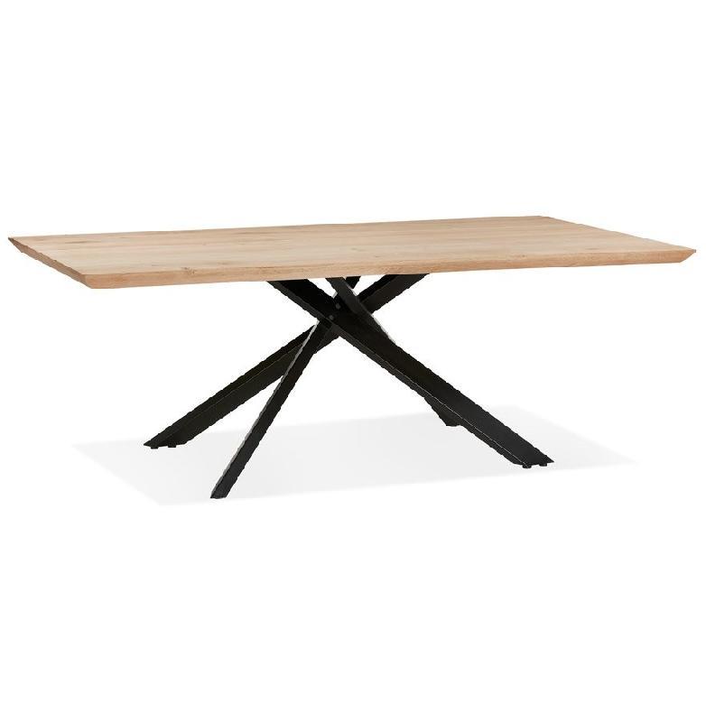 TABLE DE SALLE À MANGER 'ROBINSON' EN CHÊNE MASSIF AVEC PIED EN X EN MÉTAL NOIR - 200X100 CM