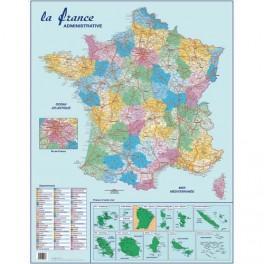 CARTE FRANCE ADMINISTRATIVE, ROUTIÈRE ET DOM-TOM MURALE- PÉLLICULÉE 66X84,5CM - 4 OEILLETS POUR SUSPENSION