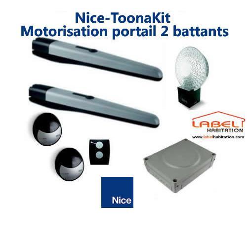 motorisation portail 2 battants kit nice toona 4024. Black Bedroom Furniture Sets. Home Design Ideas