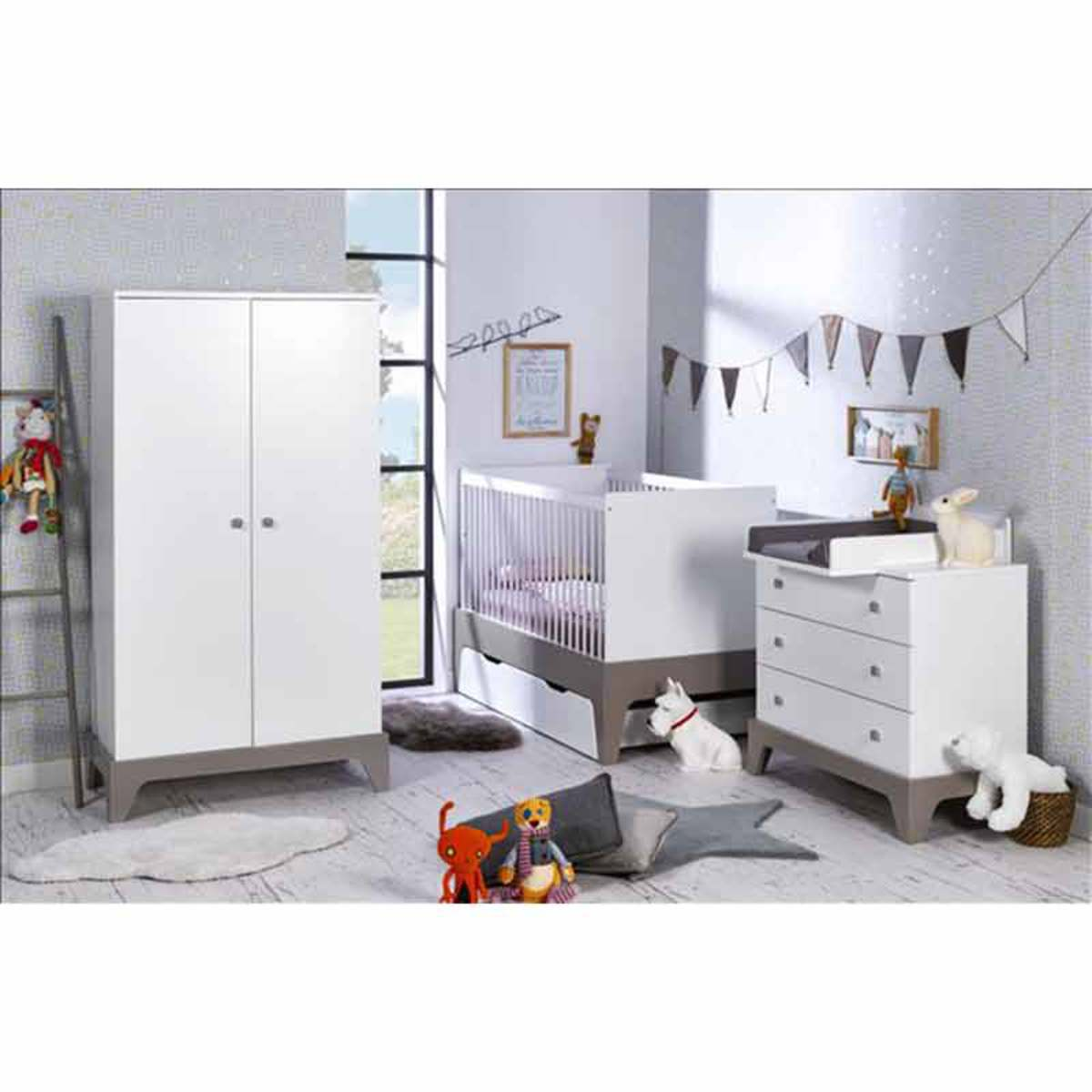 berceau lit bebe 70 x 140 cm paris evolutif barreaux blanc lin. Black Bedroom Furniture Sets. Home Design Ideas