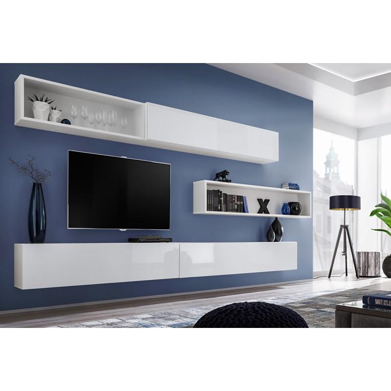 MEUBLE TV MURAL DESIGN BLOX X 350CM BLANC - PARIS PRIX