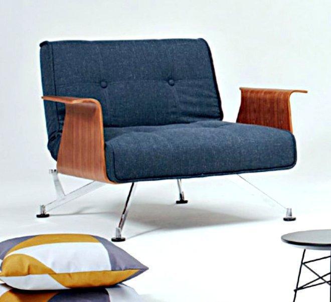 promo fauteuil design clubber bleu nist avec accoudoirs innovation living convertible lit 92. Black Bedroom Furniture Sets. Home Design Ideas