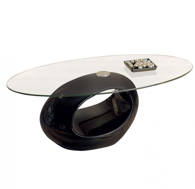 table basse ovale nigra en verre et pietement noir. Black Bedroom Furniture Sets. Home Design Ideas