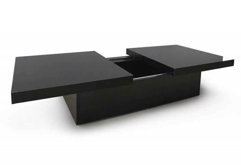 trendy table basse extensible 2 plateaux avec rangement laque noir. Black Bedroom Furniture Sets. Home Design Ideas