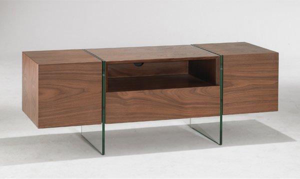 Meuble tv design sigma 160 x 40 cm noyer avec piétement en verre 2 portes 1 tiroirs 1 niche