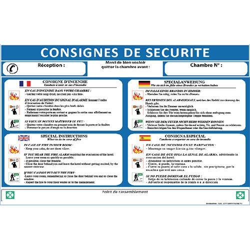 Panneau consignes de securite tous les fournisseurs for Chambre de securite