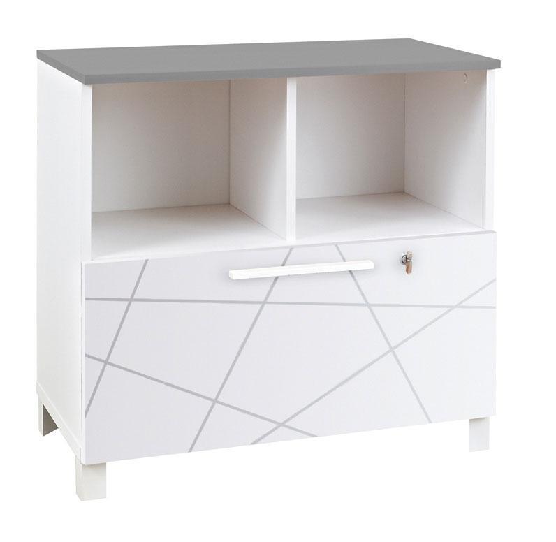 Rangement bas 2 cases finition blanc sunday largeur 80 for Bureau 80 cm de largeur