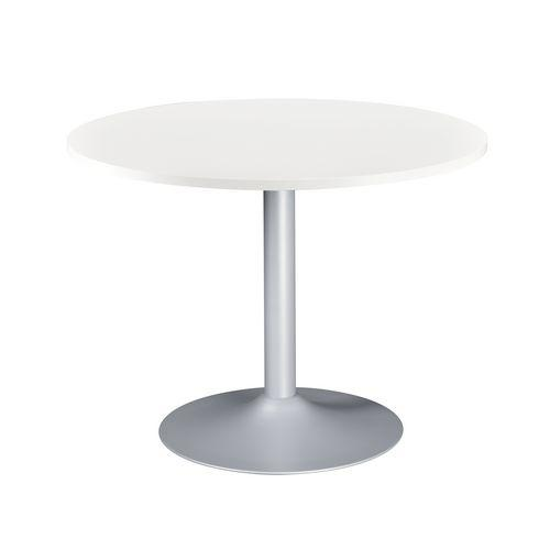 table ronde excellens plateau blanc diam tre 100 cm pied. Black Bedroom Furniture Sets. Home Design Ideas