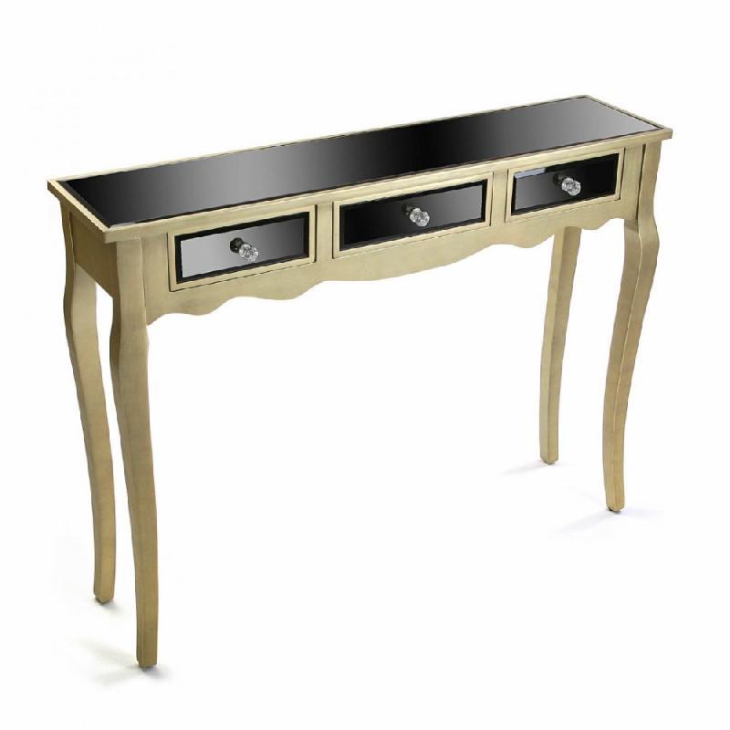 varese console en verre noir design dor 3 tiroirs comparer les prix de varese console en verre. Black Bedroom Furniture Sets. Home Design Ideas