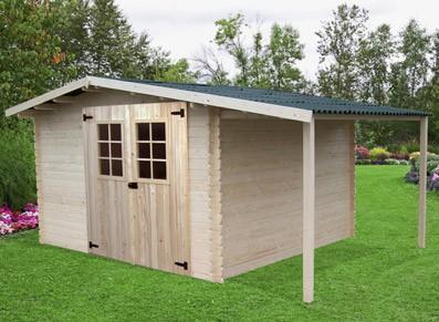 Cabanes en bois abri de jardin en bois madrier avec bûcher id2297