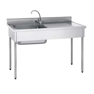 Plonge 1 bac 600x500x320 mm inox adossee for Evier cuisine professionnel