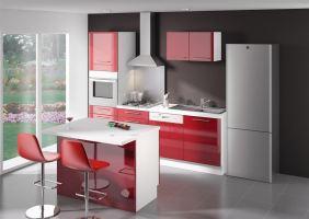 archipel cuisine complete ilot laque rouge. Black Bedroom Furniture Sets. Home Design Ideas