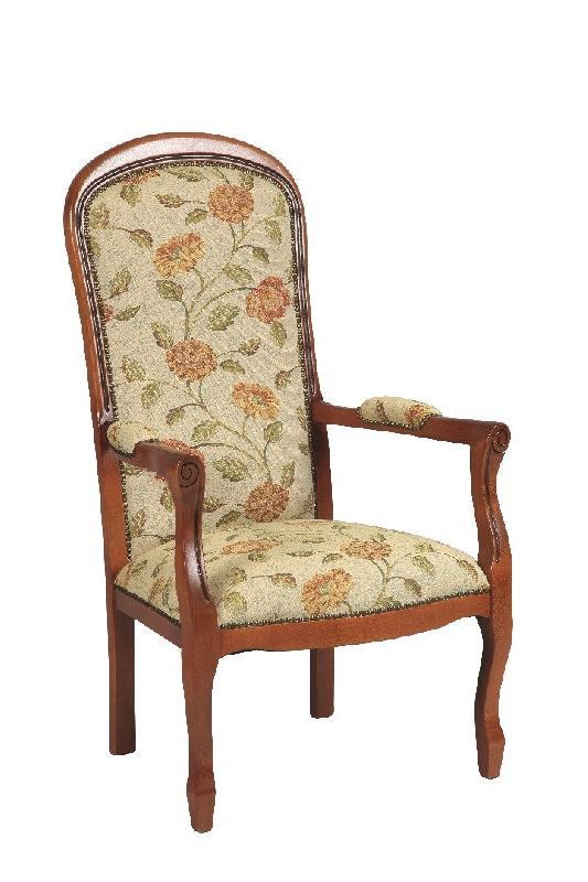 fauteuil voltaire merisier et tissu fleurs beige - Prix Fauteuil Voltaire