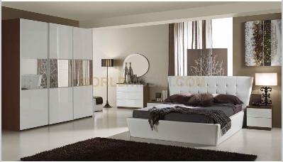 Italia lux blanche, chambre a coucher complete, lit, armoire ...