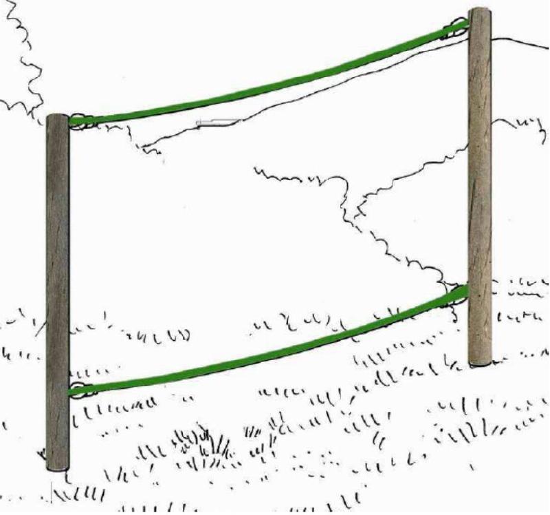 Structure parcours de santé corde d'équilibre- echauffement