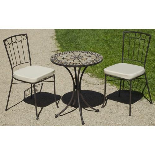 TABLE DE JARDIN MANILA : 1 TABLE+ 2 CHAISES ET COUSSINS HEVEA